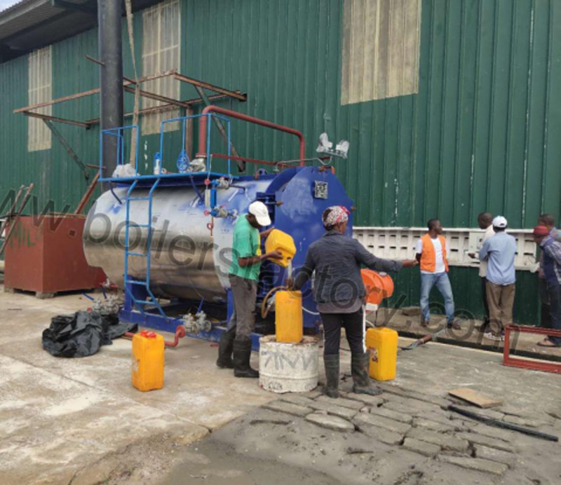 Steam boiler installation site in Nigeria